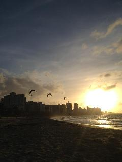 Kitesurfing at dusk