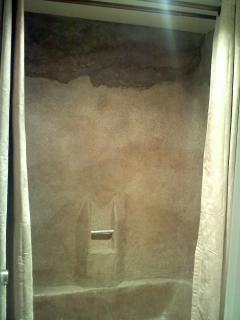 One of a kind decorative concrete shower