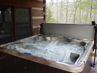 Near Boone - Log Cabin w/Hot Tub/WiFi/Fire Pit/Picnic/Fishing Creek/Fireplace