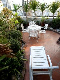 Sun Lounger and Table on Private Terrace