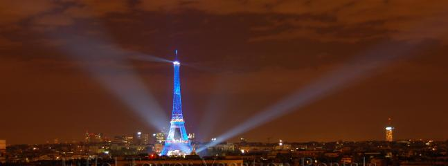Eiffel Tower with blue lighting 2008