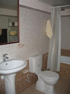Main level bathroom with bathtub + shower offers unlimited hot water in keeping with US standards