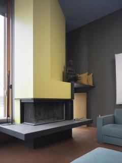 Living room with fireplace.  Architecture: Shim-Sutcliffe.