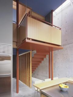 Hanging stairs leading to kitchen and dining room.  Architecture: Shim-Sutcliffe.