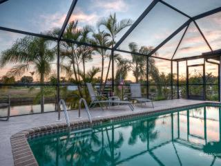 Our sunny, private, heated pool can be lighted at night for romantic swims.