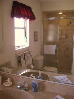 Our Master Bath has a large walk in shower.