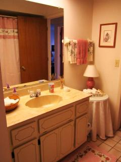 Our guest bath has a door to the pool.  We supply a hair dryer too.
