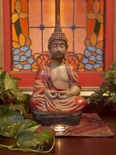 Buddha meditating in the quiet atmosphere