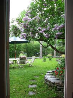 Seating area by the lilac bush