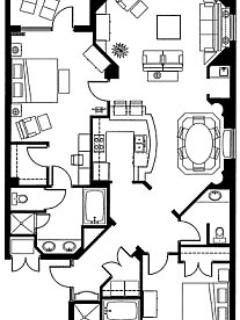Floorplan of typical two bedroom end residence