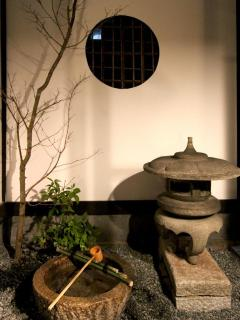Japanese 'tsuboniwa' garden at night