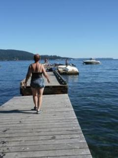 Summertime (May - Sept)  dock for sunning and swimming & temporary boat moorage.