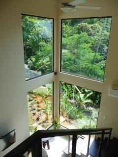 View toward living room from 2nd floor hallway