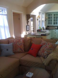Comfy couch and large flat-screen television, cable and wireless Internet
