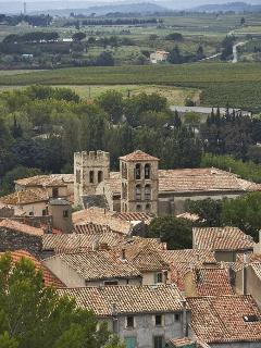 The village of Caunes-Minervois  and the abbey, which  dates from the 8th  Century