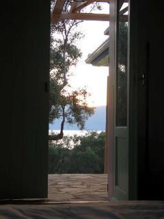 A view through the main bedroom door.