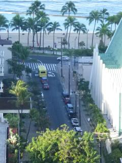 Short 1 Block walk to the sand of Waikiki Beach! (photo shot from our lanai)