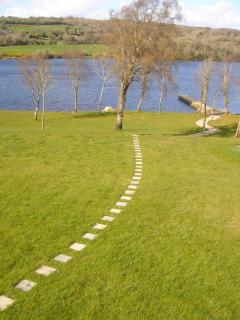 meandering path from the lodge towards the private foreshore and jetty