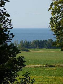 view across fields to the Northumberland Strait