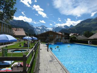 Swimming pool with Chalet Waldbort behind (Apartment Hohturen on far side of chalet)