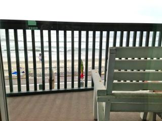 This is your private deck over looking the sand and it spans the length of our building.