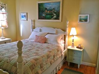 Bedroom has a queen bed with foam topper and lots of closet space.