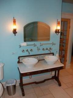 Master bath.....Irish antique with vessel sinks