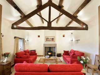 Sumptuous lounge with space for everyone to relax in front of  the log burning stove!