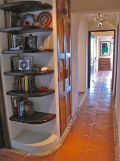 The hallway between bedrooms.