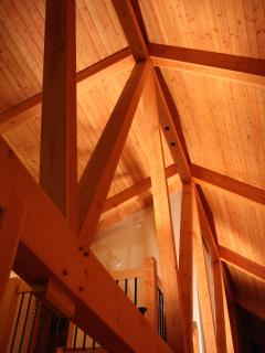 Timber frame with cathedral ceiling