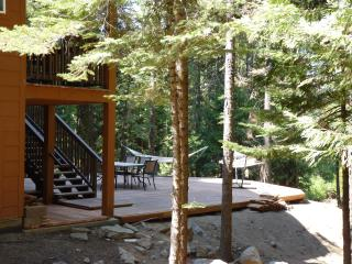 Nestled in the woods on 3/4 acre, the deck overlooks the forest for BBQs, relaxing, winter sledding