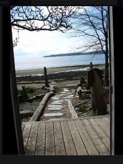 View from the front door of the cottage - 26 steps to the beach!