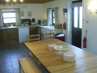 Spacious kitchen and fully equipped with washer, dryer, microwave, cooker and a table that seats 14.