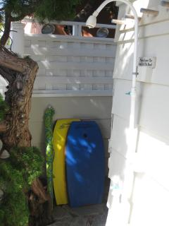 Outdoor shower after the beach. Enjoy BICYCLES, beach chairs, towels, coolers and boogie boards.