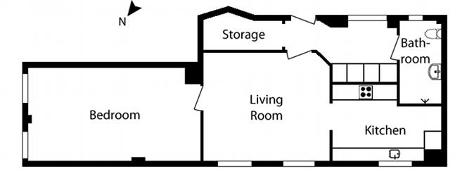 2 bedrooms, 1 bathroom