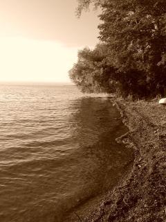 Shale beach area on south of boathouse side