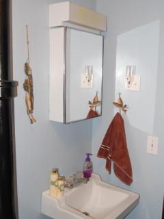 Bathroom - sink area   Door opens in