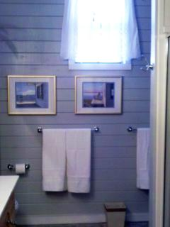 Main Level Bath features 2 Sinks and Double-headed Shower!