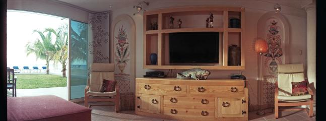 Beautiful integrated media systems with outstanding room darkening window treatments in all rooms.