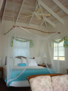 King-size bed platform w/ mosquito netting canopy