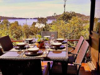 Sunny deck overlooking lake Beratan and Bedugul valley