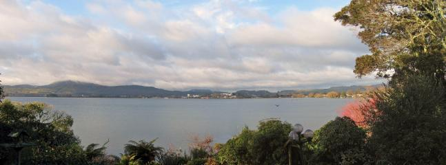 Widescreen view from the top of the driveway over Lake Rotorua