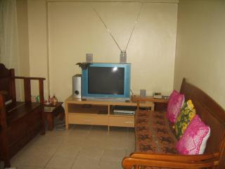 living room, with 29' tv, dvd player and dvds, sofa, 2 seater chair and arm chair