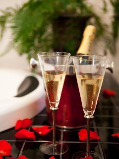 Moet on ice awaits with scatter rose petals