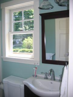 Full bath located upstairs with great street view from window