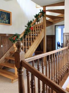 3 flights of stairs in the house, lots of wooden features
