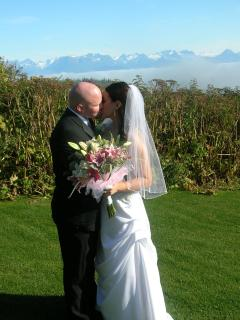 We also renew wedding vows. the view and the lawn and the love