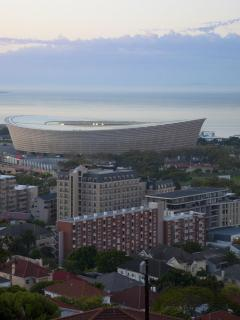 View of the Cascades Building with the Cape Town Stadium in the background