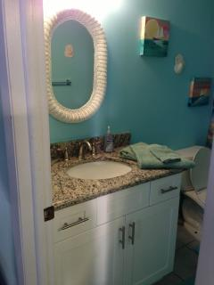 new bathroom vanity with granite countertop