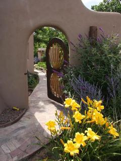 Side Gate with yellow lilies